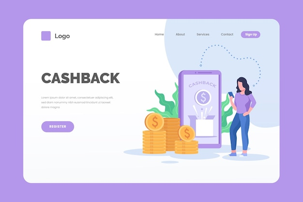 Cashback landing page and woman