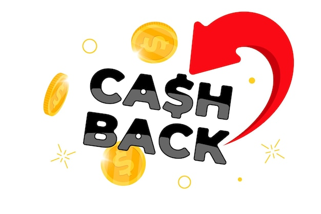 캐쉬백 로열티 프로그램 배너 개념입니다. 떨어지는 동전을 은행 계좌 디자인 템플릿으로 반환했습니다. 환불 서비스 포스터입니다. 보너스 캐쉬백 달러 기호입니다. 격리 된 벡터 일러스트 레이 션