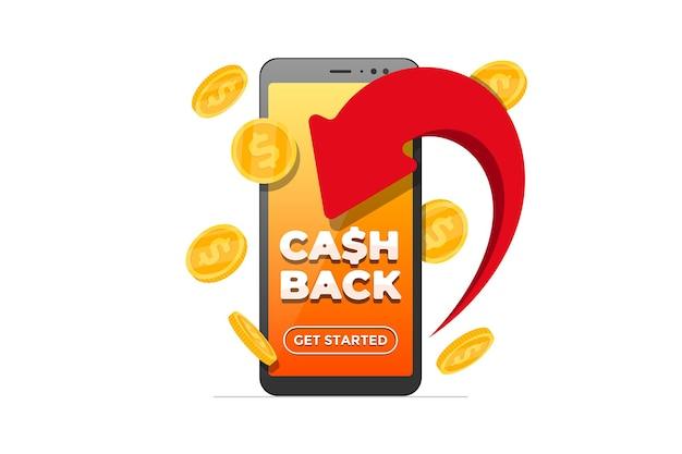 Концепция программы лояльности кэшбэк. стрелка вернула золотые монеты и надпись на экране смартфона. приложение для возврата денег. иллюстрация приложения бонусной транзакции мобильного банкинга