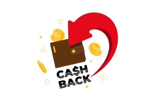 캐쉬백 로열티 프로그램 개념입니다. 은행 계좌로 동전이 반환된 지갑. 환불 서비스 디자인입니다. 지갑 기호 벡터 일러스트 레이 션에 보너스 현금 다시
