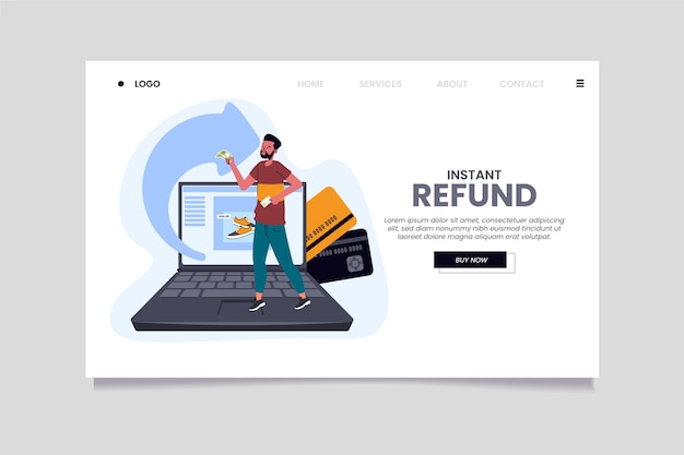 Cashback man and laptoplanding page template