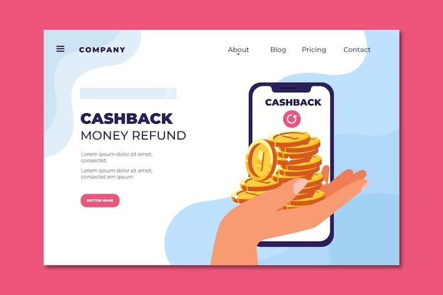 Cashback money refund landing page