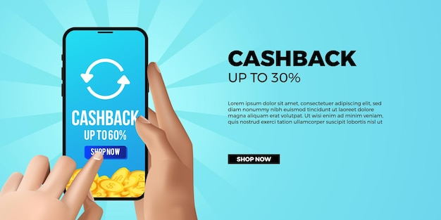 Cashback promotion banner app with 3d hand holding and touch phone
