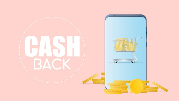 Cashback and savings on purchases concept. smartphone with gold coins. phone and mountain of coins. gold coins money vector.