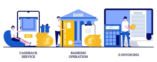Кэшбэк-сервис, банковские операции, концепция электронного выставления счетов с крошечными людьми