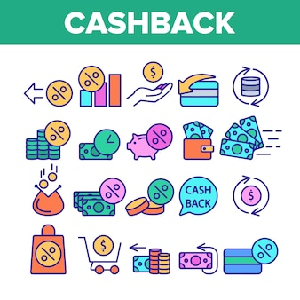 Cashback service sign icons set