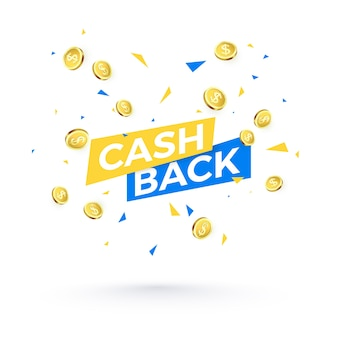 Cashback text and falling confetti and golden coins