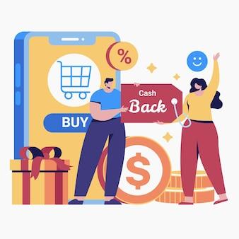 Cashback концепция рисованной дизайн