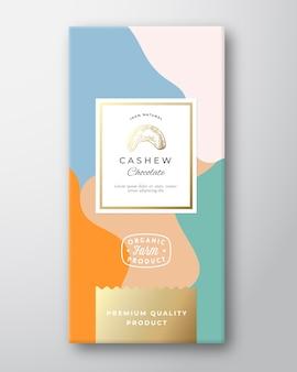 Этикетка шоколада кешью. абстрактный макет упаковки с мягкими реалистичными тенями.