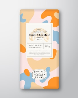 Cashew chocolate label abstract shapes vector packaging design layout with realistic shadows modern ...