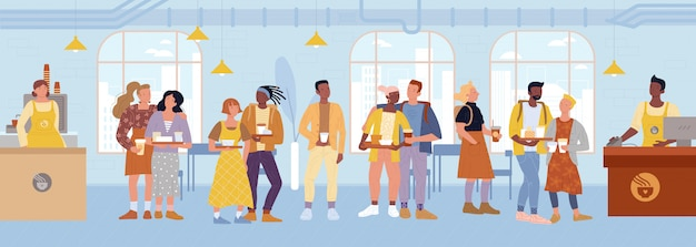 Касса, бариста стоят за прилавками, обслуживают клиентов в кафе, ресторане.