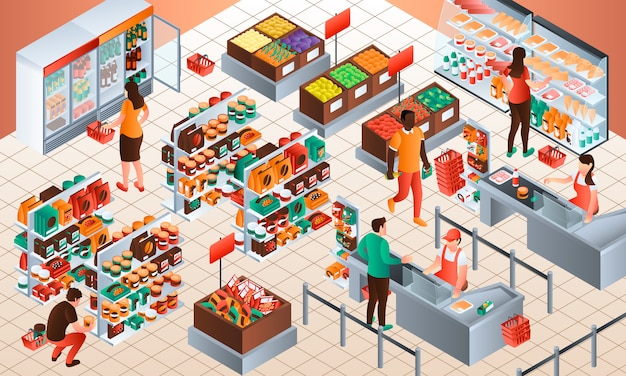 Cashier concept background. isometric illustration of cashier