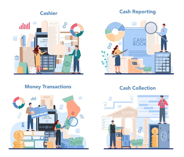 Cashier concept set illustration