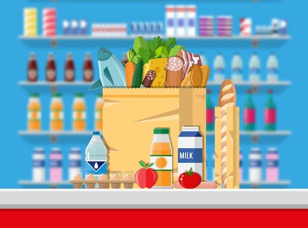 レジカウンターカウンター。スーパーマーケットのインテリア Premiumベクター
