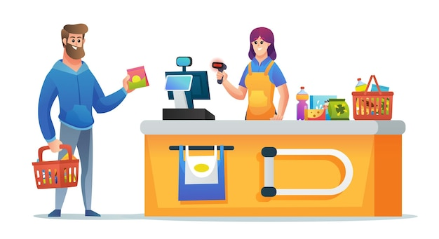 Cashier and customer with grocery basket at supermarket checkout counter concept illustration