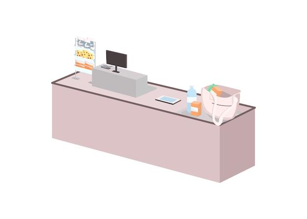 Касса плоский цветной объект. кассовый аппарат. покупки в супермаркете. покупка продуктов. пустой прилавок магазина изолированных иллюстрация шаржа для веб-графического дизайна и анимации