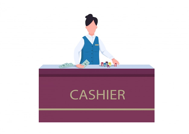 Cashier flat color vector faceless character. woman in uniform behind desk. female staff exchange chips for money. personnel desk to get cash prize. casino counter isolated cartoon illustration