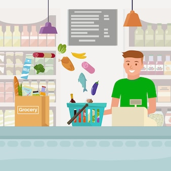 Cashier in grocery store. flat