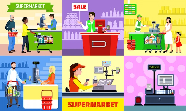 Cashier illustration set. flat illustration of cashier
