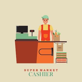 Cashier man in supermarket.
