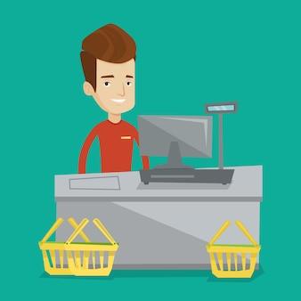 スーパーでレジに立つレジ係。