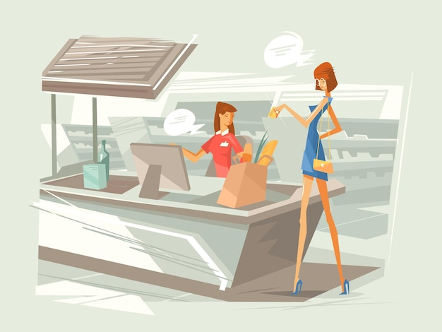 Cashier in supermarket at workplace. girl pays for purchase at checkout counter.  illustration