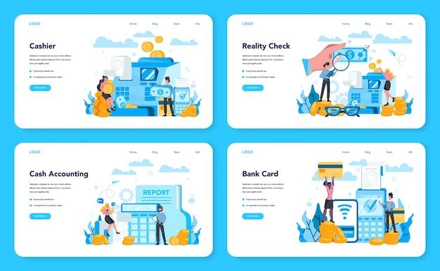 Cashier web banner or landing page set