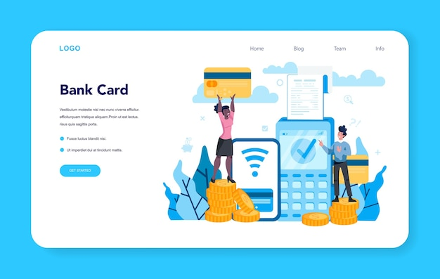 Cashier web banner or landing page. worker behind the cashier