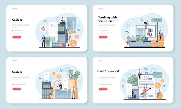 Cashier web template or landing page set.