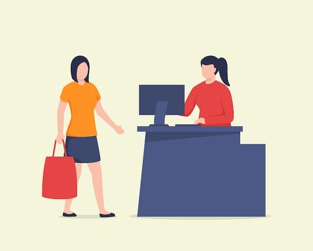 モダンなフラットスタイルのコンピューター画面のデスクテーブルを持つ買い手と売り手のレジ係