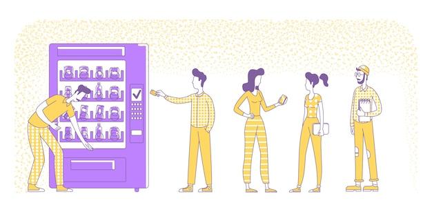 Безналичная карта оплаты силуэт иллюстрации. люди покупают напитки в торговых автоматов наброски персонажей на белом фоне. сервис nfc, технология оплаты простой стиль рисования