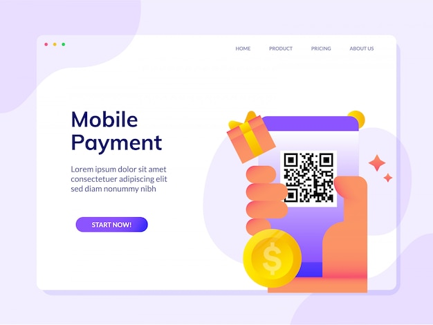 Cashless mobile payment website landing page