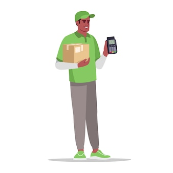 Cashless payment for delivery semi  rgb color  illustration