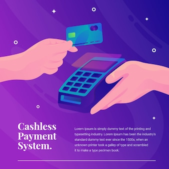 Cashless payment system credit card with machine