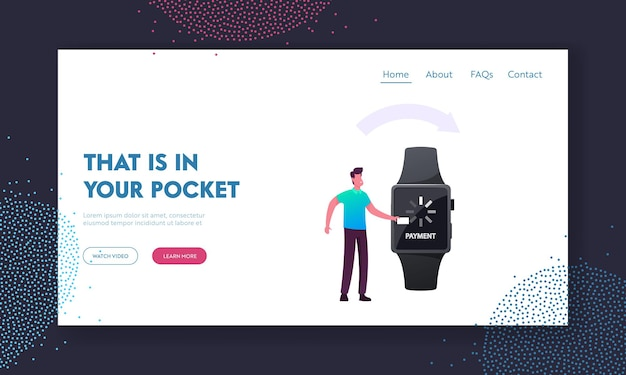 Cashless payment transaction landing page template. man customer uses smart watch for noncontact paying in supermarket