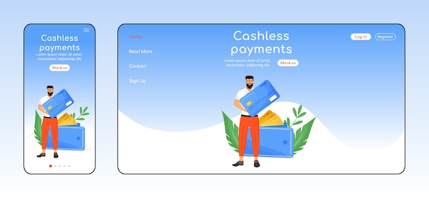 Cashless payments adaptive landing page flat color template. banking service mobile and pc homepage layout. fintech one page website ui. credit card transactions webpage cross platform design