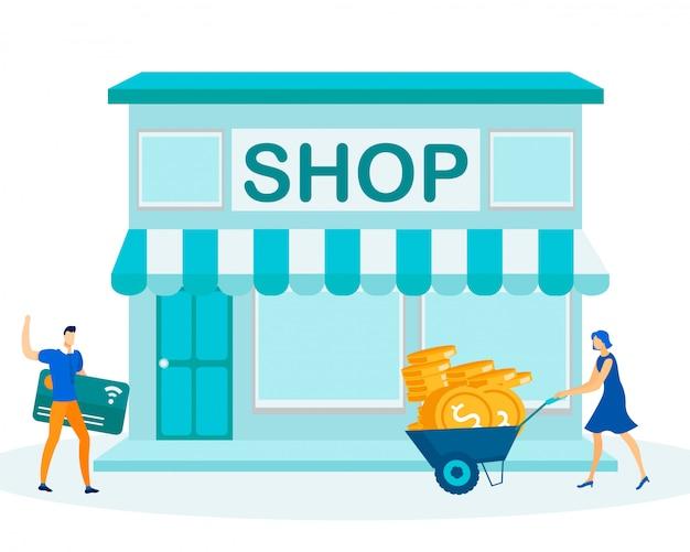 Cashless payments versus buy cash in shop metaphor