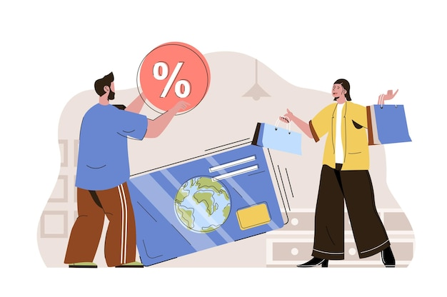 Cashless payments web concept illustration with flat people character