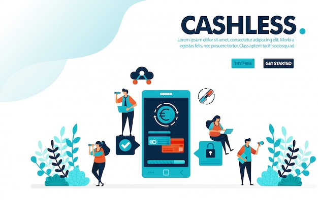 Cashless society payment, transactions without money or cashless.