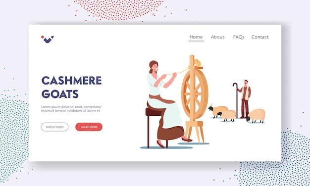 Cashmere landing page template. woman spinning wool on wheel, shepherd grazing goats, wool ecological textile production, vintage equipment for making fabric. cartoon people vector illustration
