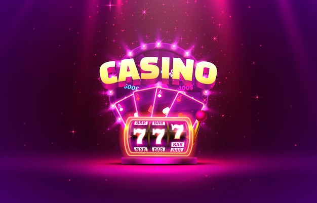 Casino 3d cover, slot machines and roulette with cards, scene background art