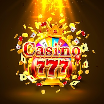 Casino 777 big win slots and fortune king banner. vector illustration