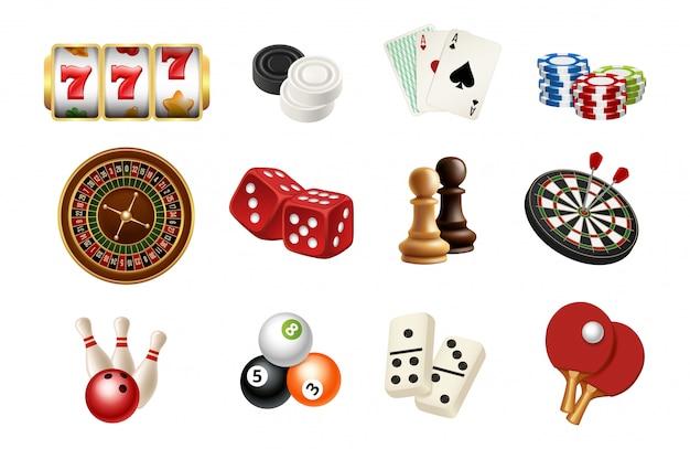 カジノとギャンブルのスポーツゲームのアイコン。リアルなチェス、スキットルズ、ボール、カジノルーレット、スロットマシン