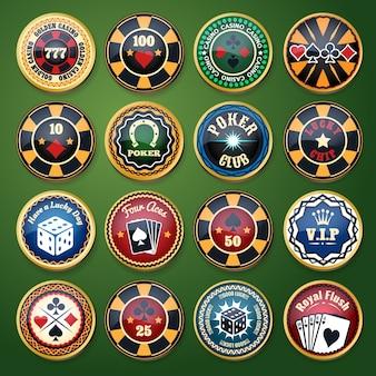Набор цветных глянцевых этикеток для казино и покерного клуба. карточная игра, ставка и фишка, игра и отдых, удача и фортуна, векторная иллюстрация