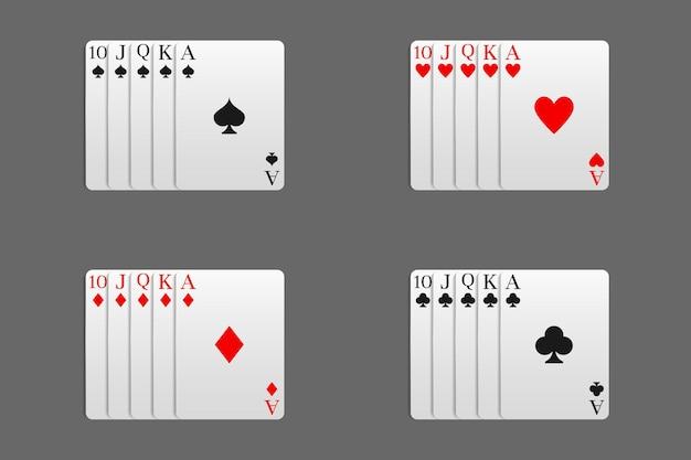 Казино и покер в сочетании с комбинацией royal flush всех мастей карт. векторная иллюстрация в реалистичном стиле.