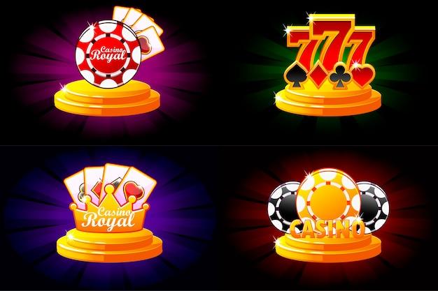 カジノとポーカーのアイコン。