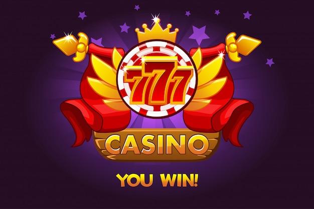 Награды казино 777. значки рейтинга казино с фишкой для покера и лентой. иллюстрация для казино, игровых автоматов и игрового интерфейса.