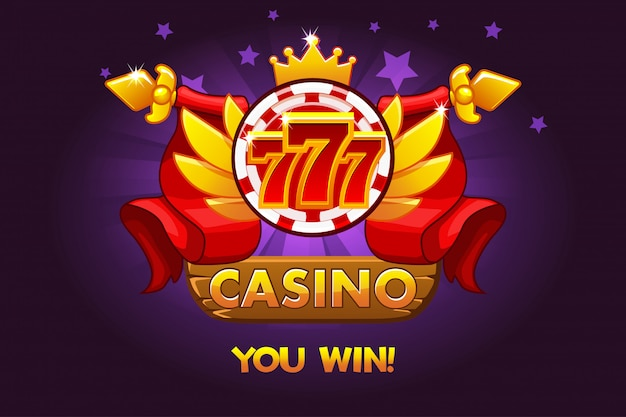 Casino awards 777. casino rating icons with poker chip and ribbon. illustration for casino, slots and game ui.