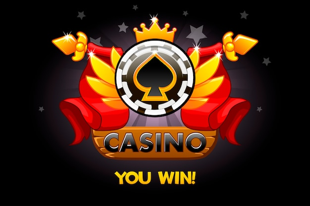 Casino awards. casino rating icons with poker chip and ribbon. illustration for casino, slots and game ui.