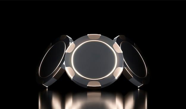 Казино фон. казино игры 3d фишки. интернет казино баннер. черно-золотой реалистичный чип. азартные игры концепция, значок мобильного приложения покер.